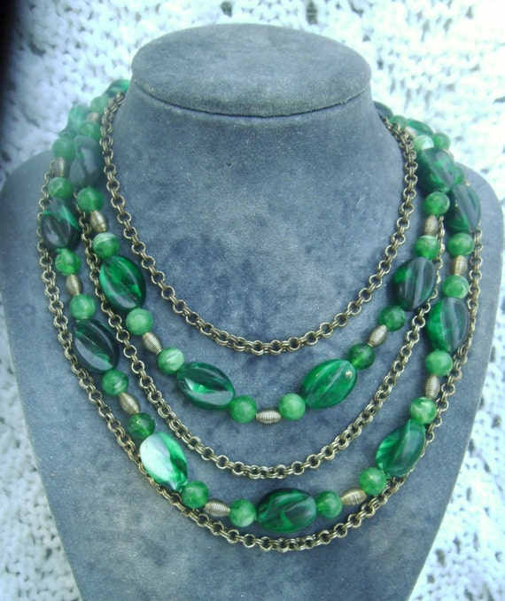Vintage Necklace: Multi Strand and Chain Madmen 1950's Beaded Necklace W Germany