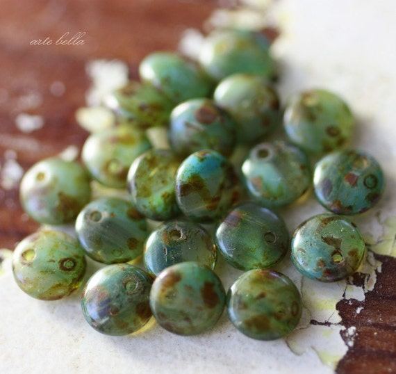 OCEAN DOTS .. NEW Picasso Czech Glass Lentil Beads (1751)