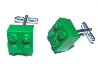 Green Brick Cufflinks, Cufflinks for weddings, office, grooms - Silver Plated - Handmade with LEGO(r) Bricks