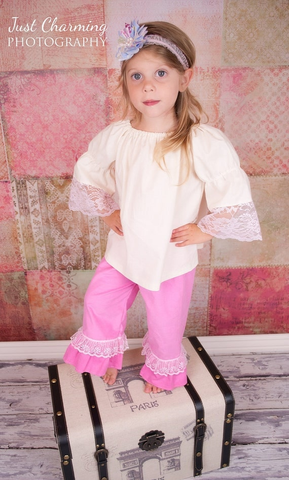 Girls Long Sleeve Peasant Shirt in Natural Muslin with Pink Lace