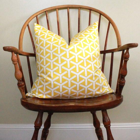 """20"""" Geometric Pillow Cover in Daffodil Yellow"""