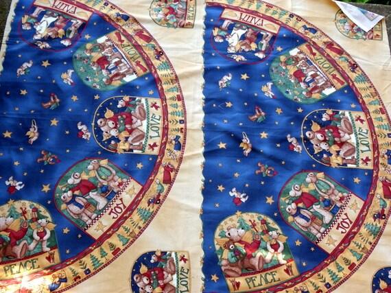 Fabric Panel - Joyful Angels - Christmas Tree Skirt Panel - Peace Love Hope Joy