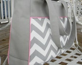 Gray Chevron Laptop Bag, Diaper Bag Travel Bag You can choose your fabric
