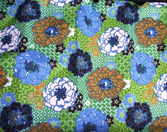 1960's Mod Floral Theme 1 Yard of Vintage 1960's Vintage Medium Weight Cotton Fabric by Fabrics America