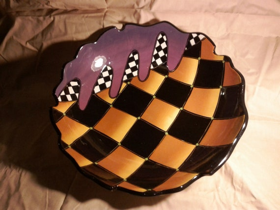 Carnival Hand Painted Serving Bowl Modern and Fun Harlequin Style Pattern With a Highly Figural Edge and Stylish Feet