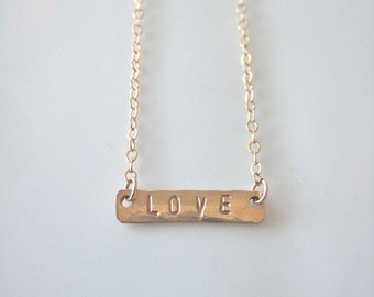 Tiny Gold Bar Necklace - LOVE in 14kgf