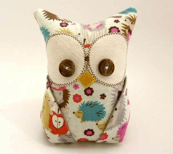 Owl Bookend Hedgehog fabric Organization