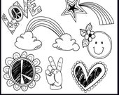 Digital Clip Art, Doodle Peace/Love  Elements. Instant Download. Digital Brushes and Stamps. Personal & Limited Commercial use.