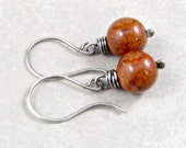 Rust Dangle Earrings Fossil Stone Wrapped in Fine Silver Gifts for Her