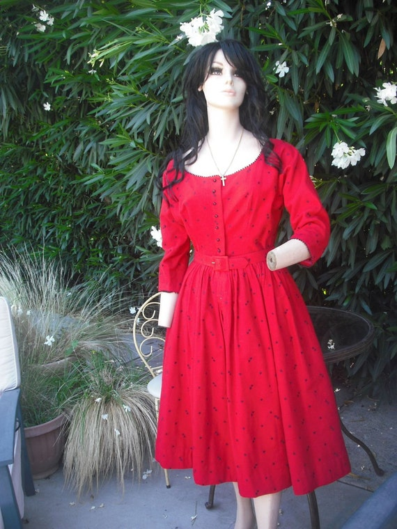 1950's Lanz Original Red Full Skirt Flannel Dress // Rockabilly Swing Dress // Valentines Day