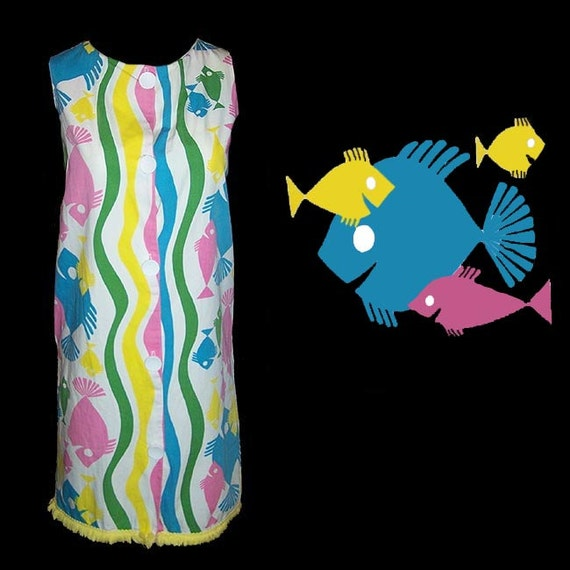 Vintage 60s mod fish novelty print swim suit cover up day dress