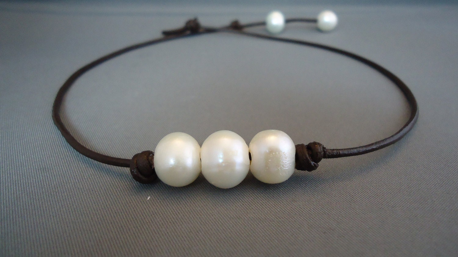 Three,wishes,Pearl,Leather,Necklace,Jewelry,leather_pearl,leather_necklace,peals_necklace,three_wishes,leather_work,iseadesigns,coastal,seaside,beach_bridal,leather pearls