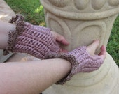 On Clearance Valentines Day Handmade Crochet Fingerless Gloves Victorian Rose