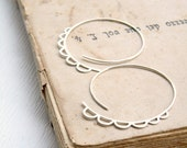 Sterling Silver Big Hoops -The Extrovert - silver open hoops with bubbles, xl hoops, statement earrings
