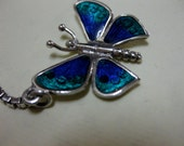 Very nice vintage sterling silver enamel butterfly necklace aquas blue well made piece ooak