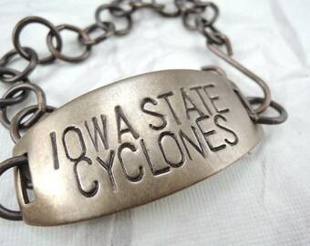 Iowa State Cyclones Bracelet  Hand Stamped Jewelry