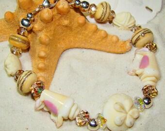 Seashells and Sand Dollars Crystal Bracelet