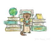 Bookish Otter -- Archival Print by Kit Chase