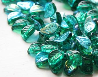 25pcs Czech Glass Leaves -Green AB 9x14mm (PG271801)