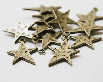 12pcs Antique Brass Tone Base Metal Charms-Star 28x20mm (1780X-G-238)