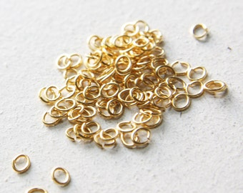 100pcs Matte Gold Plated Brass Base Oval Jump Rings-5x4mm (21 Gauge) (319C-I-12)