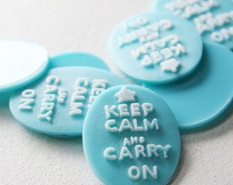 4pcs Acrylic Keep Calm and Carry on Cabochons 40x30mm (43F23)
