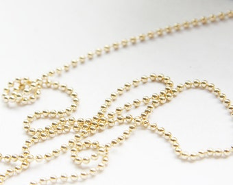 3 Feet Premium Gold Plated Brass Ball Chains - 2mm (425C08)