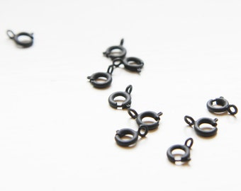 10pcs Matte Black Plated Brass Base Spring Ring Round Clasps-6mm (338C-I-135)