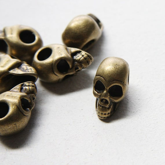 6pcs Antique Brass Tone Base Metal Spacers-Skull 21x11mm with 5mm hole (13296Y-E-319)