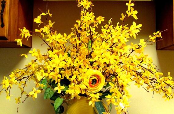 Contemporary Bright Forsythia Yellow Silk Flower Centerpiece.      Free Shipping