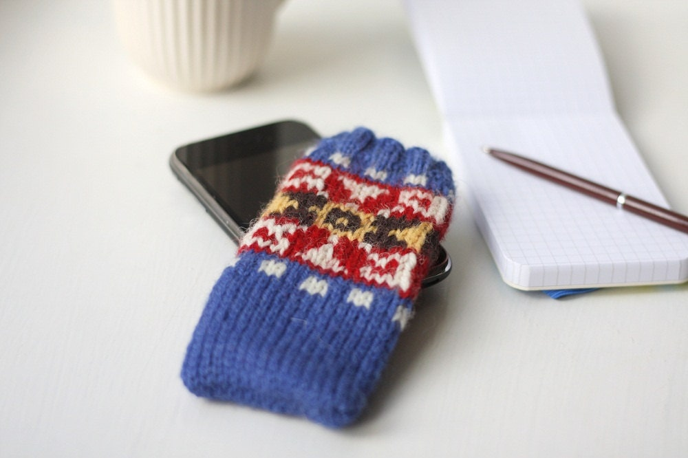 Fair Isle iPhone Sock PDF knitting pattern