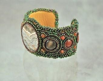 Bead embroidered, Cuff, bracelet, crazy lace agate, carnelian