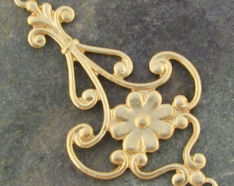 Brass Flower 2 Ring Connector Links 1335- 6 Pieces