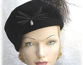 1950s Hat 50s Black Velvet Beret Look Pillbox w/Ostrich Feather 1950's 50's