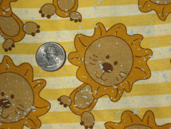 RESERVED One Yard Gold Lion Fabric Cotton Quilting