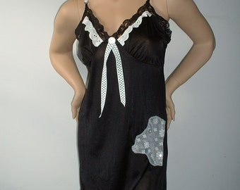 "Black Slip Dress w/Vintage Lace, Buttons, a Few Polka Dots & Stretch Lace Belt from ""Pretty in Plus"""