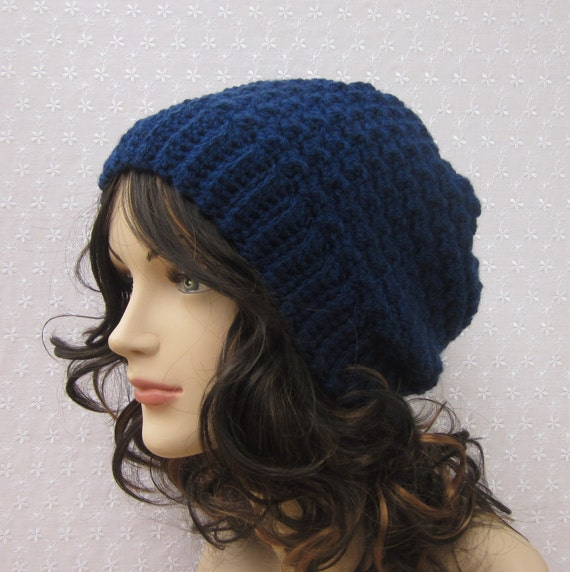 Navy Blue Slouchy Crochet Hat - Womens Slouch Beanie - Oversized Cap - Fall Winter Fashion Accessories