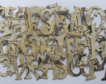 STEAMPUNK Debutante - Newspaper Print Chipboard Alphabets and Frame Die Cuts -  1.5 inch Letters