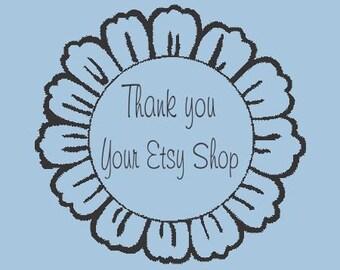 Daisy Thank you Flower - Custom Self  Inking Stamp - Design R310-003