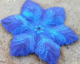 altered pendant AURORA hand painted purple and blue metal flower focal 1 pc
