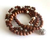 Wood & Pearls Mala Yoga Prayer Bracelet