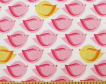 Fat Quarter - Puffy Bird Pink Print on White by Michael Miller Fabrics DC5595-Pink