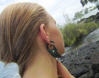 Fake gauge , Organic Black Horn ,Split Gauge ,feather Earrings Fancy Tribal