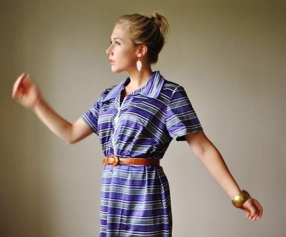 ON SALE.......1970s NOS Striped Day Dress, Plus Size