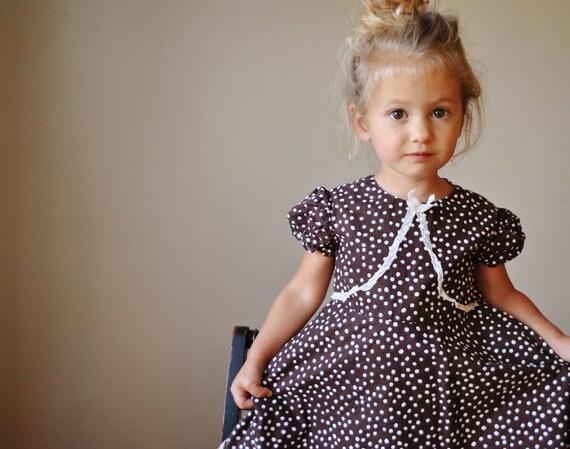 ON RESERVE......1960s Chocolate Polka dot dress, size 2t/3t
