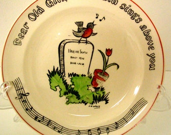Vintage Fondeville Song Plate - Dear Old Girl, The Robin Sings Above You