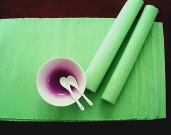 Lemon green set of 6 Handwoven Placemats