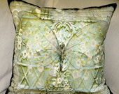 "Decorative Pillow Cover - ""Cottage Garden Butterfly 3"" - 18x18  -  Designed and Hand Made by Billie Anderson in Bigfork Montana USA"