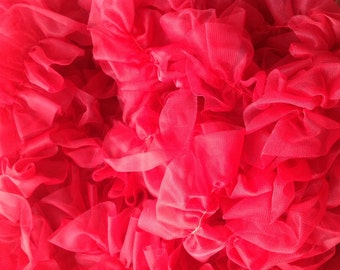 Chiffon Double Ruffled Trim - Handmade - 5 Yards -  YOU PICK COLOR