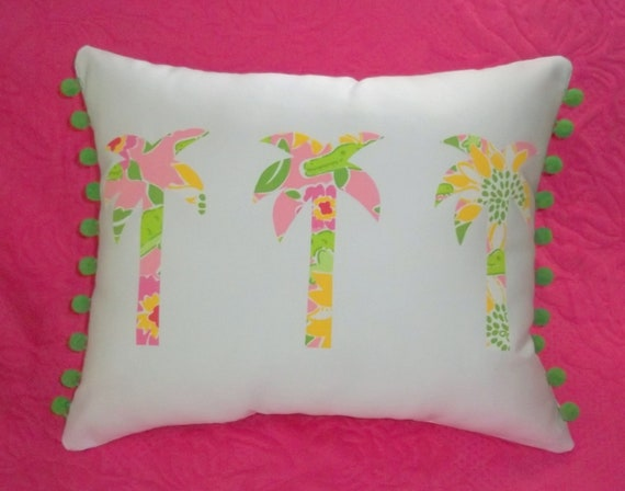 Made to Order pillow, one new custom Palm Tree Trio Pillow made with Lilly Pulitzer Croc Monsieur fabric